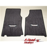 FLOOR MAT SET - EMBROIDED -PAIR- BLACK
