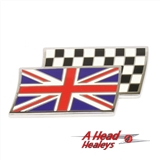UNION FLAG OVER CHEQUERED FLAG BADGE - ENAMEL -SELF ADH--
