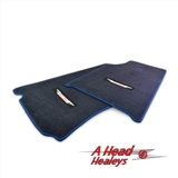 FLOOR MAT SET - EMBROIDED -PAIR- BLUE