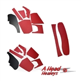 INTERIOR TRIM SET - RED -LESS DOOR POCKETS-