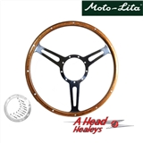 STEERING WHEEL - WOOD RIMMED -15IN-  DERRINGTON STYLE