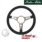 STEERING WHEEL - LEATHER RIMMED -15IN- DRILLED SPOKE