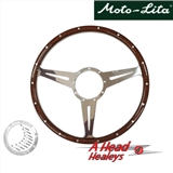 STEERING WHEEL - WOOD RIMMED -15IN- SLOTTED SPOKE